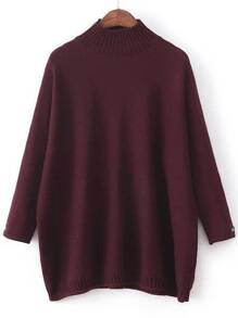 Burgundy Mock Neck Patch Detail Loose Sweater