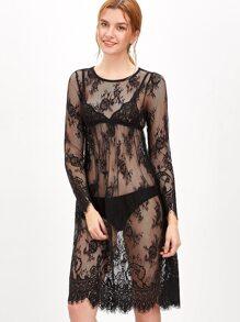 Black Sheer Floral Lace Dress