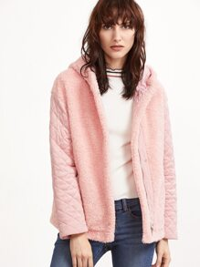 Pink Quilted Sleeve Hidden Zip Hooded Fleece Jacket