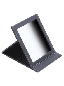 Black PU Wrap Fold Over Makeup Mirror