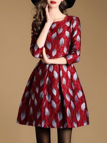 Red Leaves Jacquard A-Line Dress