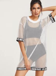 White Logo Trim  Cover Up Fishnet Tee Dress