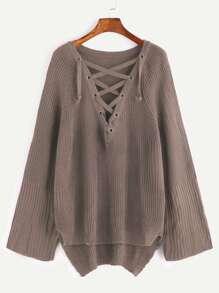 Khaki Eyelet Lace Up Slit Side High Low Sweater