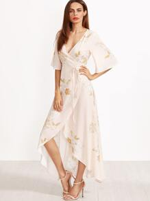 Pink Flower Print Kimono Sleeve Surplice Wrap High Low Dress