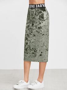 Olive Green Logo Waist Velvet Skirt