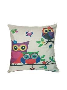 Cartoon Owl Pattern Linen Square Cushion Cover