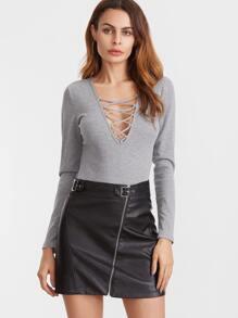 Grey Lace Up Deep V Neck Long Sleeve Bodysuit