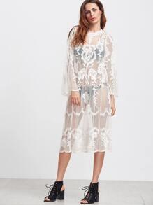 White Long Sleeve Sheer Lace Dress