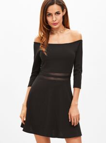 Black Off The Shoulder Striped Mesh Waist A Line Dress