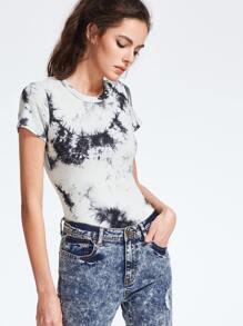 Black And White Tie Dye Print Short Sleeve Bodysuit