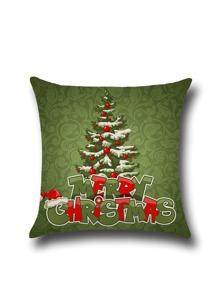 Olive Green Christmas Tree Cartoon Pillowcase