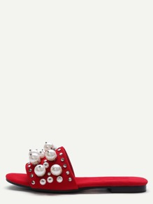 Red Open Toe Faux Pearl Inlay Studded Slippers