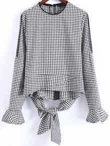 Black And White Plaid Slit Sleeve Blouse With Bow Tie