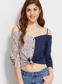 Contrast Striped Cold Shoulder Knot Front Blouse
