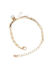Gold Tone Faux Pearl and Rabbit Charm Chain Bracelet