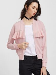Pink Ruffle Trim Zip Up Jersey Bomber Jacket