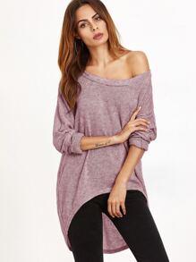 Pink One Shoulder Dip Hem T-shirt