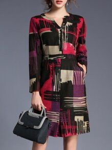 Color Block V Neck Pockets Shift Dress