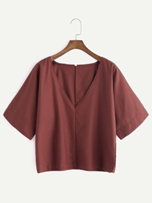 Brick Red V Neck Elbow Sleeve Blouse