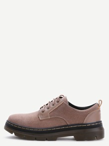 Khaki Suede Round Toe Lace Up Low Top Shoes