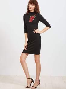 Black Mock Neck Embroidered Rose Applique Ribbed Sheath Dress