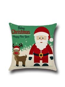 Merry Christmas Cartoon Graffiti Linen Square Pillowcase