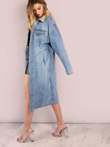 Longline Denim Fur Coat DENIM