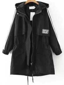 Black Striped Hooded Drawstring Coat