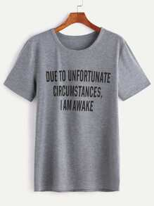 Heather Grey Slogan Print T-shirt