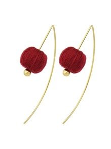 Red Color Rope Ball Hanging Earrings