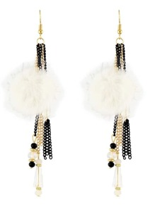 White Color Beads Chain Long Hanging Earrings