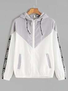 Contrast Sleeve Tape Detail Drawstring Hooded Jacket