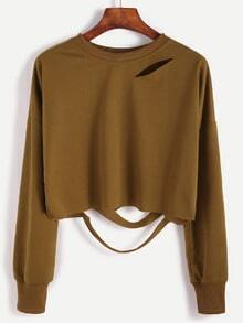Khaki Drop Shoulder Cut Out Crop T-shirt