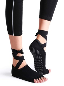 Black Non-slip Open Toe Ankle Strap Yoga Sock