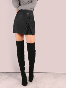 Faux Leather Laced Eyelet Mini Skirt BLACK