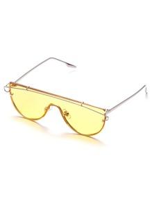 Silver Tone Yellow Lens Aviator Style Sunglasses