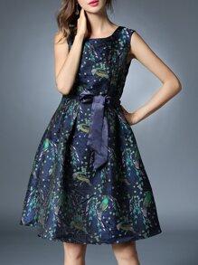 Multicolor Tie-Waist Jacquard A-Line Dress