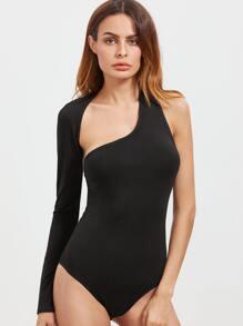Black Cutout One Shoulder Wrap Around Sleeve Bodysuit