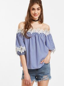 Blue Vertical Striped Off The Shoulder Lace Applique Blouse