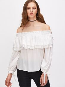 White Off The Shoulder Tie Sleeve Layered Ruffle Top