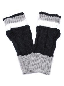 Black and Grey Cable Knit Handwarmers