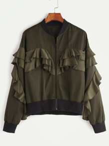 Olive Green Contrast Ribbed Trim Ruffle Bomber Jacket