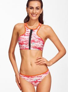 Red Printed Racer Back Zipper Up Bikini Set