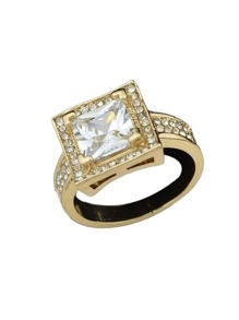 Gold Color Imitation Crystal Big Band Rings