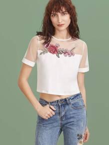 White Embroidered Flower Applique Mesh Shoulder Crop T-shirt