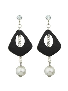 Silver Color Pearl Wooden Long Chain Earrings