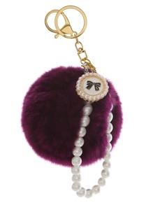 Pom Pom Faux Pearl Beaded Keychain