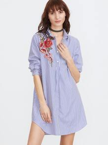 Blue And White Striped Embroidered Rose Applique Shirt Dress
