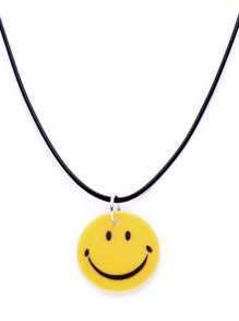 Yellow Smiling Face Pendant String Necklace