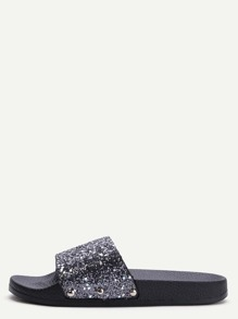 Black Glitter Sequin Rubber Sole Slippers